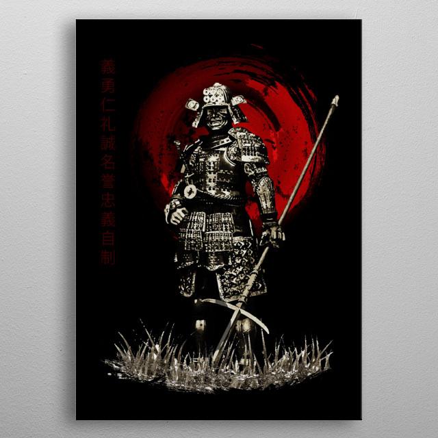 Bushido Samurai with Spear metal poster