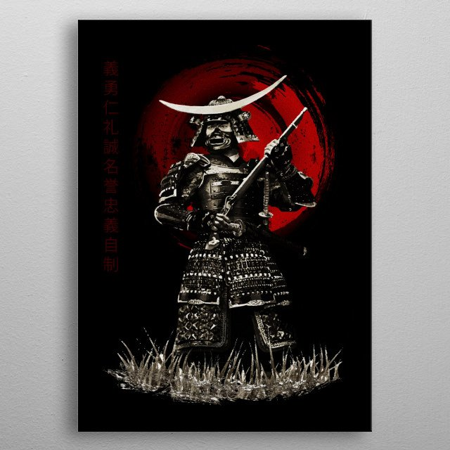 Bushido Samurai with Rifle metal poster