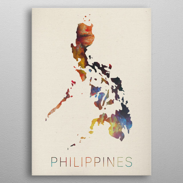 Philippines Watercolor Map metal poster
