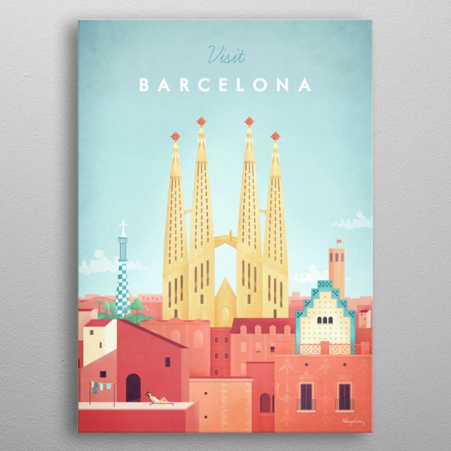 Barcelona metal poster