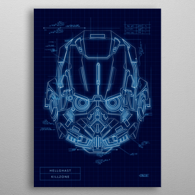 High-quality metal print from amazing Helmet Hunters Blueprint Edition collection will bring unique style to your space and will show off your personality. metal poster
