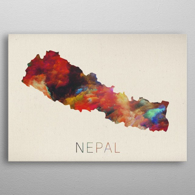 Nepal Watercolor Map by Design Turnpike | metal posters - Displate