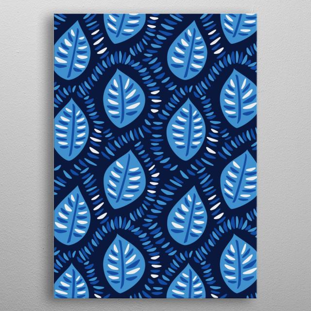 Pretty Decorative Blue Leaves Pattern metal poster