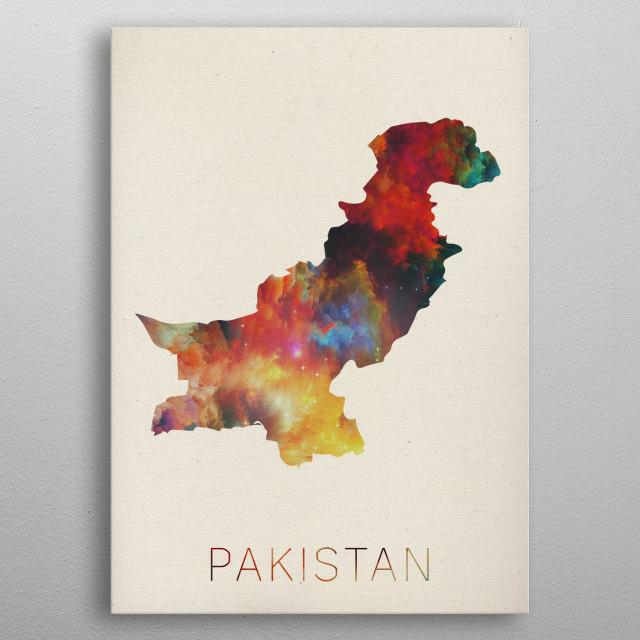 Pakistan Watercolor Map metal poster