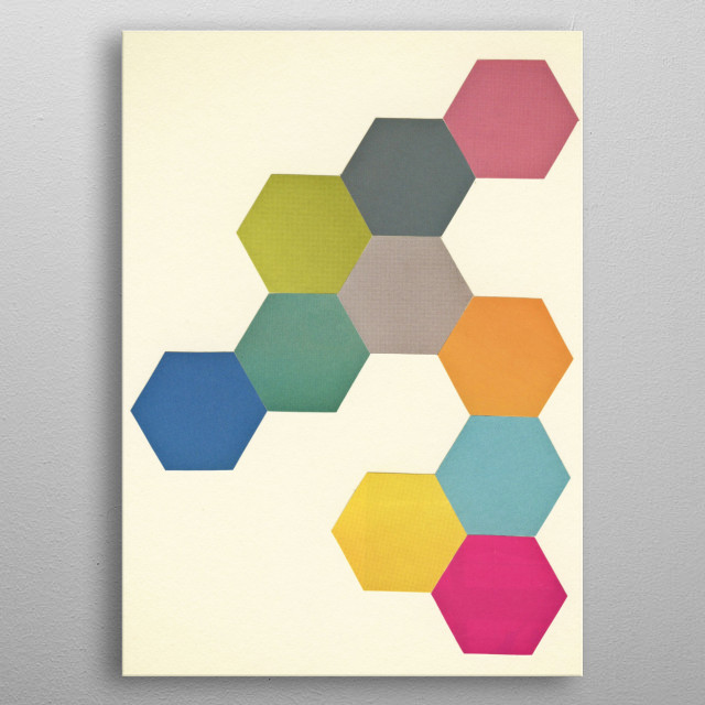 A hand cut geometric collage by Cassia Beck. metal poster