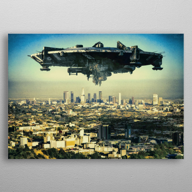 The alien ship over the Los Angeles by J.P. Voodoo metal poster