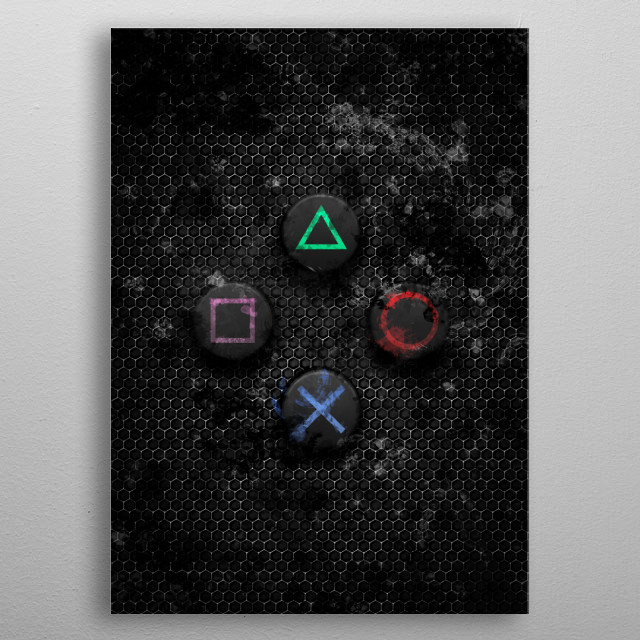 Dark PlayStation buttons with splatter effect. This Gaming Art will be great gift for PlayStation console fans.  metal poster
