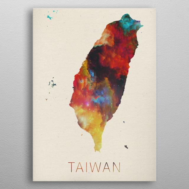 Taiwan Watercolor Map metal poster