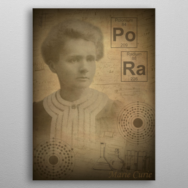 Marie Curie metal poster
