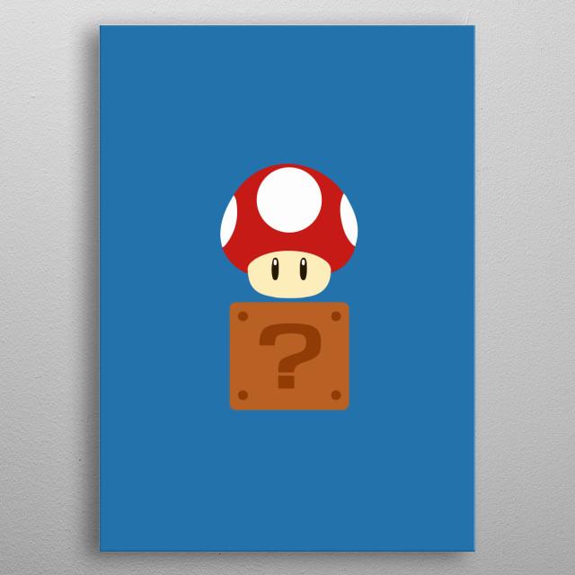 Mario Bros - Red Mushroom + Box metal poster