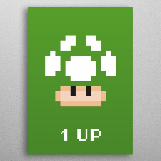 Mario Bros - Green Mushroom Pixel metal poster