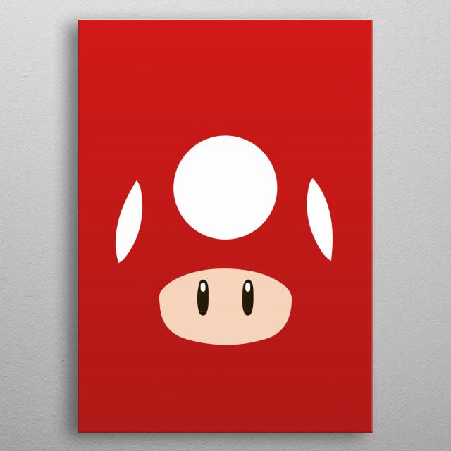 Mario Bros - Red Mushroom metal poster