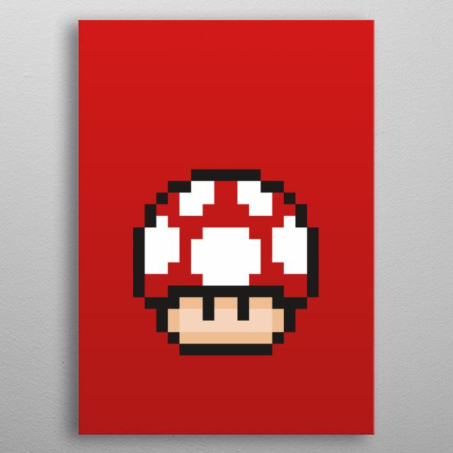 Mario Bros - Red Mushroom Pixel 2 metal poster