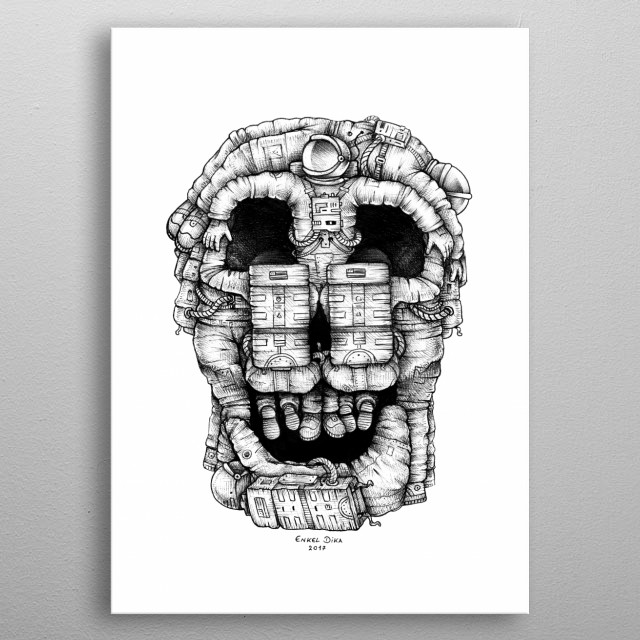 High-quality metal print from amazing Inktober collection will bring unique style to your space and will show off your personality. metal poster