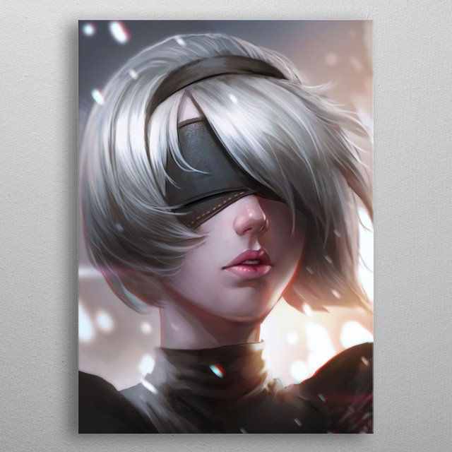 2B Portrait by Nopeys metal poster