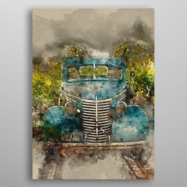Vintage with watercolor effects metal poster