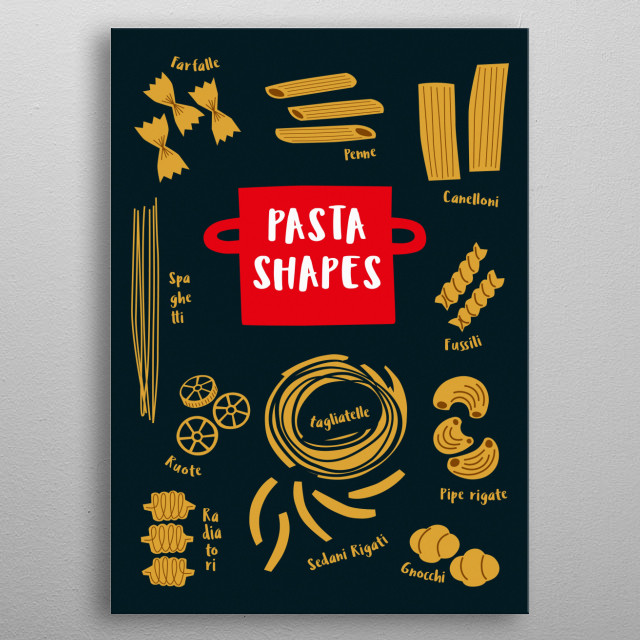 Pasta Shapes metal poster