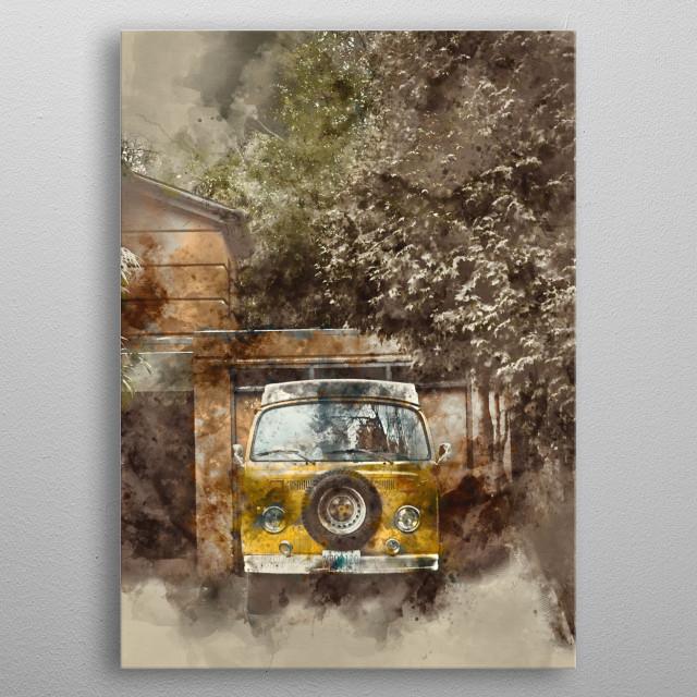 Vintage Van with watercolor effects. metal poster