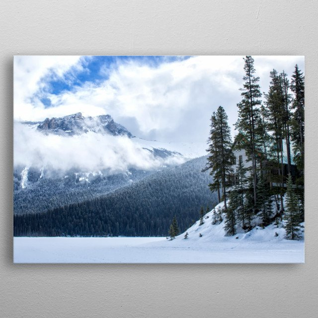 Point Cabin on Emerald Lake metal poster