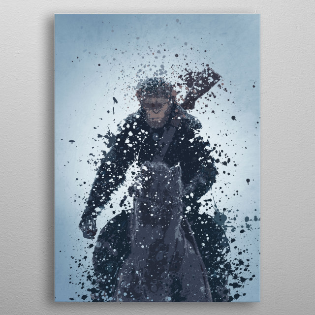 Caesar, splatter artwork from planet of the apes. metal poster