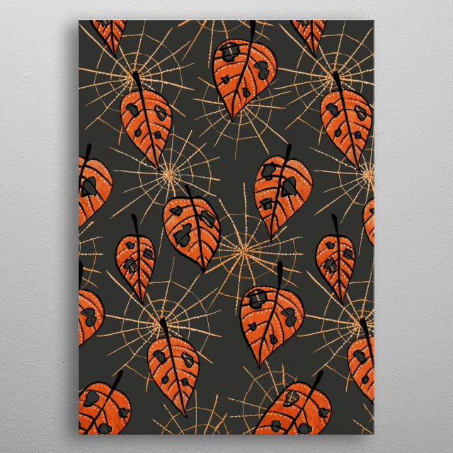 Orange Autumn Leaves With Holes And Spiderwebs metal poster