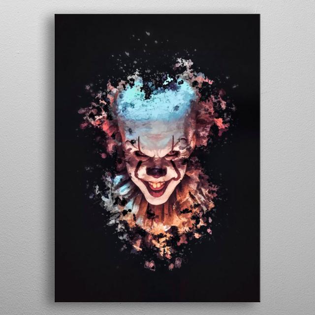 Pennywise clown splatter painting  metal poster