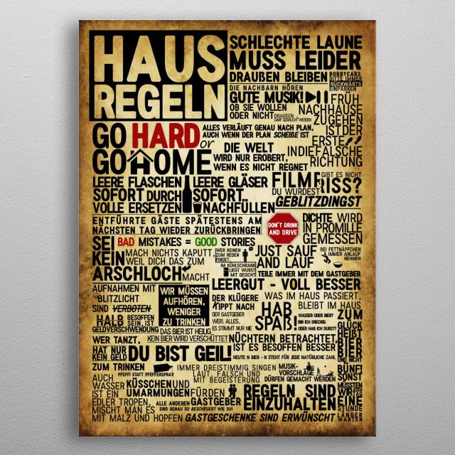 Haus Regeln metal poster