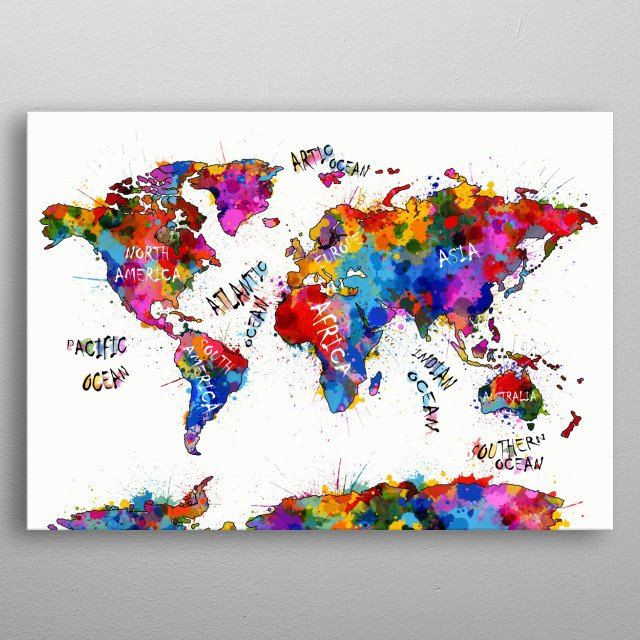 world map Maps Poster Print | metal posters - Displate