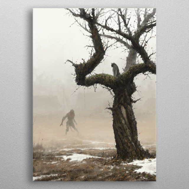 old apple tree metal poster