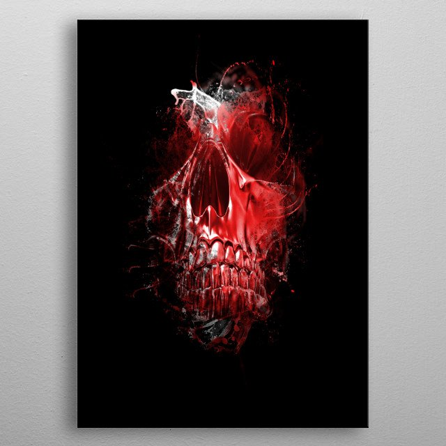 Red Skull metal poster