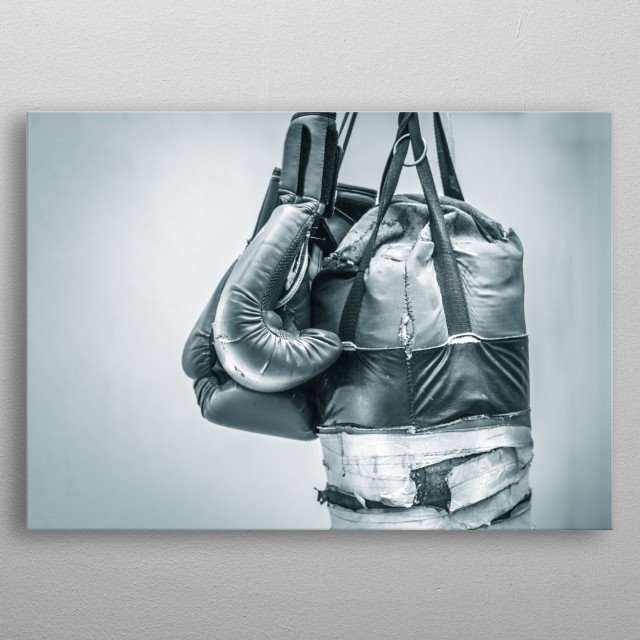 Punching bag and boxing gloves photograph metal poster