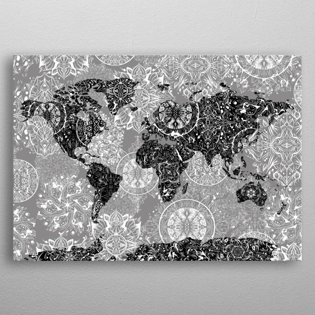 World Map Mandala Grey By Bekim Art Metal Posters Displate