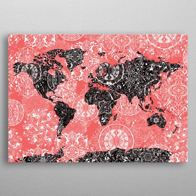 World Map Mandala Black Red By Bekim Mehovic Metal Posters Displate - Mandala map of the world