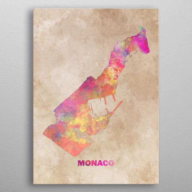 Monaco map metal poster