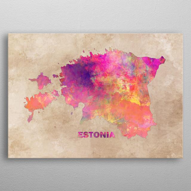 Estonia map metal poster