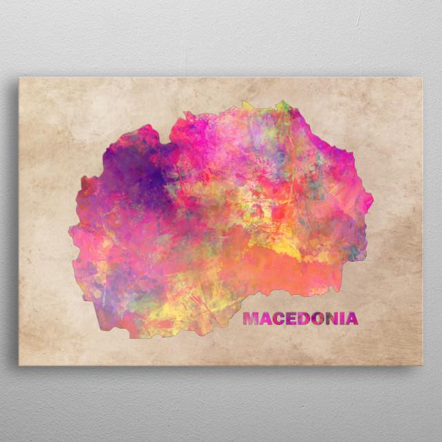 Macedonia map metal poster