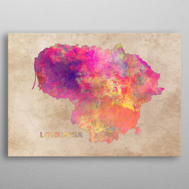 Lithuania map metal poster