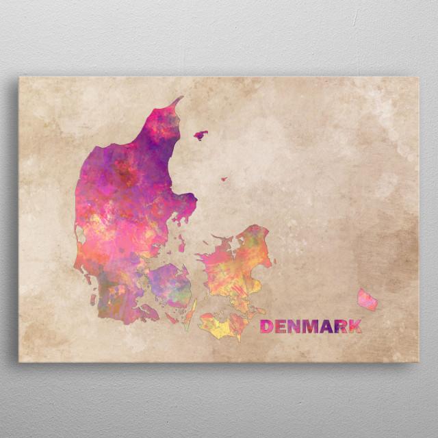 Denmark map metal poster