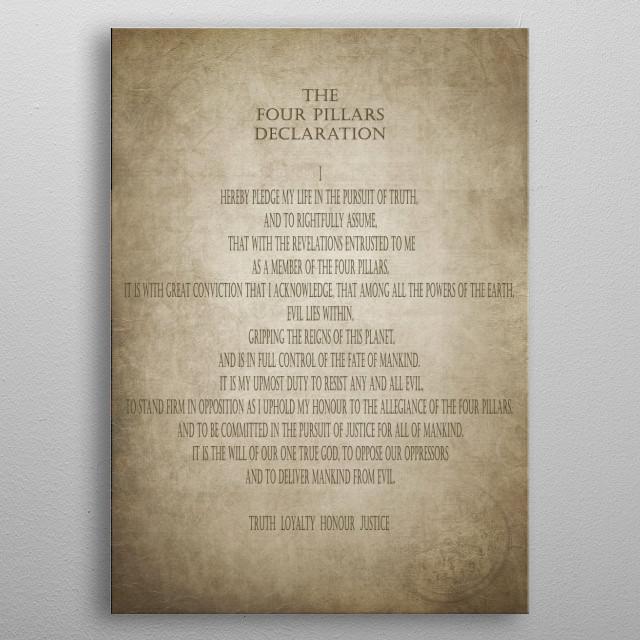 The Four Pillars Declaration metal poster