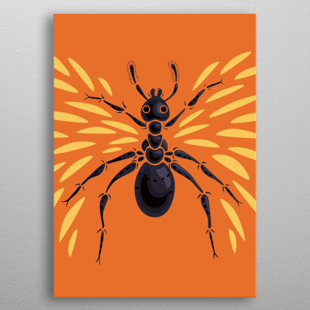 Abstract Winged Ant Insect metal poster