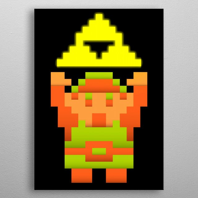 8 Bits Link and the Triforce. metal poster