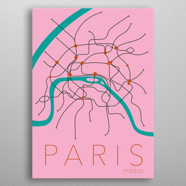Paris Metro plan metal poster