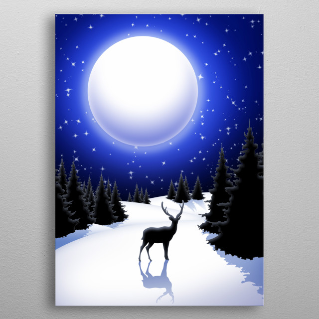 Lonely Deer on Snowy Silent Night Mountains metal poster