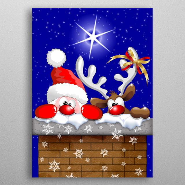 Funny Christmas Santa and Reindeer Cartoon metal poster