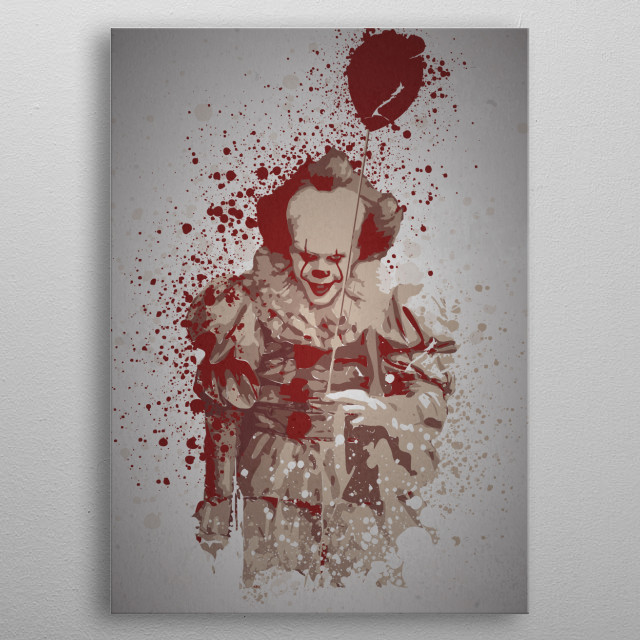 """Clown"" Splatter effect, Pennywise, It metal poster"