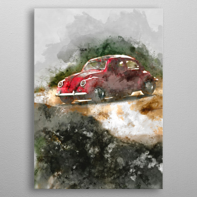 Beetle car with watercolor effects. metal poster