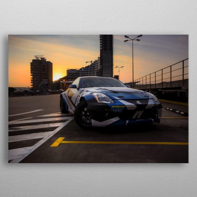 Drift ready Nissan 350Z metal poster
