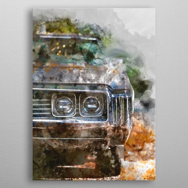 watercolor / cars / paint metal poster