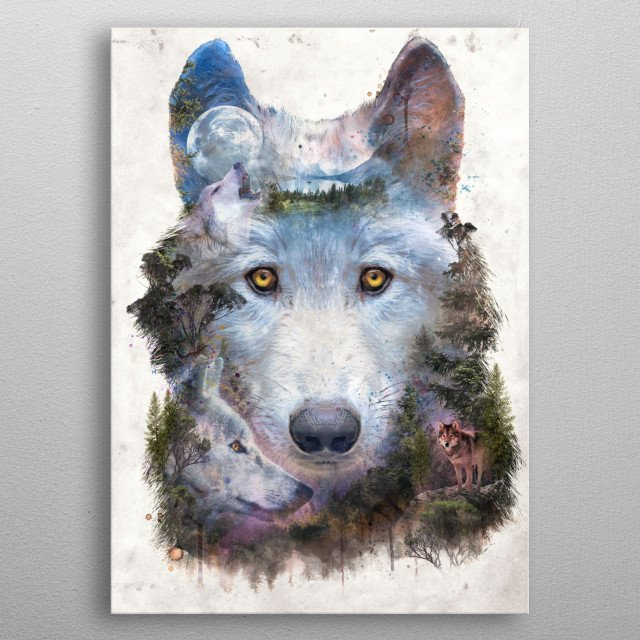 One Pack Under Moon metal poster