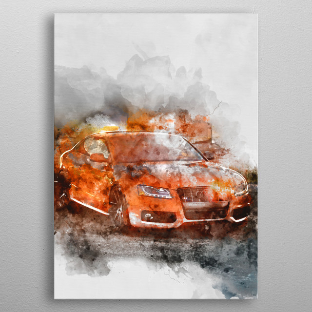 Sports Car with watercolor effects. metal poster